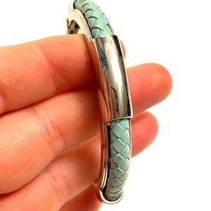 Jewelry - Aqua Leather Silver Bracelet